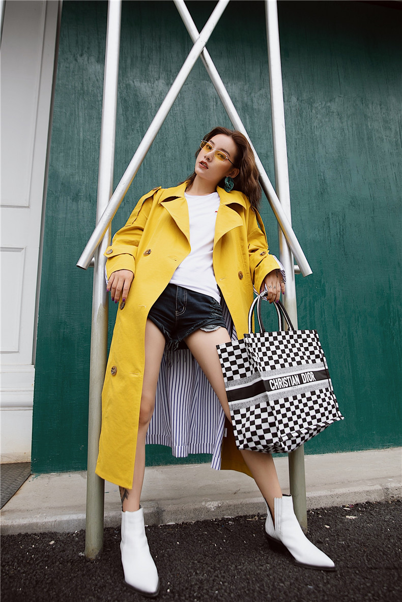Korean Women Clothes 18 Autumn Windbreaker Female Long Coat New Style Striped Stitching Yellow Winter Trench Coat 8