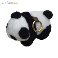 Cute Panda Genuine Fur Keychains Decoration For Bag Charm Women Real Fur Key Chain Fluffy Key Ring Purse Animal Pendant Jewelry