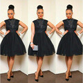 Short Lace Cocktail Dresses 2016 Little Black Prom Party Gowns Knee Length Beaded High Neck Plus Size Formal Occasion Wear