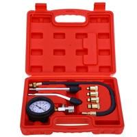 9PCS Petrol Gas Engine Cylinder Compressor Gauge Meter Test Motor Auto Pressure Compression Tester Leakage Diagnostic Tool