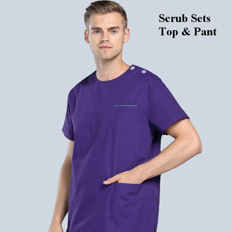 Комплекты медицинской одежды для женщин и мужчин, комплекты медицинской униформы, вырез лодочкой, пуговицы на плечах, штаны, стоматологические скрабы, рабочая одежда - Цвет: Eggplant Purple