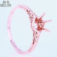 HELON 5.25 6.25mm Round Solitaire Semi Mount Vintage Antique Engagement Ring Art Deco Solid 14k Rose Gold Wedding Ring Wholesale