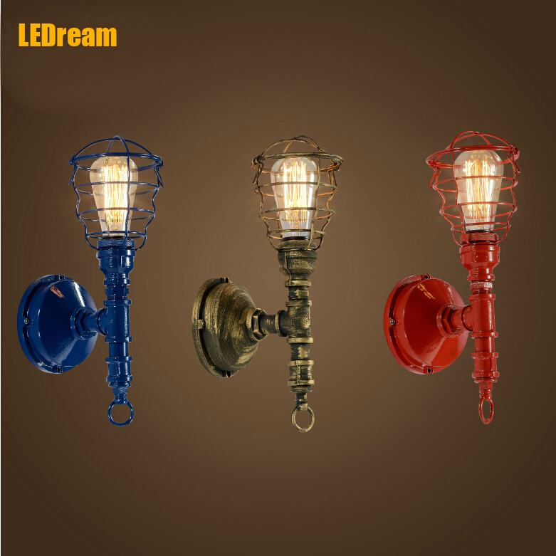 American industrial loft wind , wrought iron  lamp Creative restaurant bar wall lamp light pipe LIGHT personality industrial lamps and lanterns of wind loft balcony corridor creative american restaurant wall lamp wrought iron bar counter