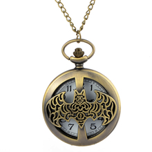High Quality Dark Gray Steampunk Titanium Steel Batman Pocket Watch Necklace Mens/Womens jewelry