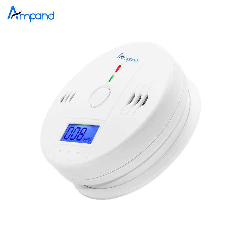 Independent Carbon Monoxide Sensor Detector CO Alarm with Digital LCD Display and 85dB Voice Warning Battery Operated White digital co2 monitor detector gm8802 gas detector 3 in1 carbon dioxide temperature humidity detector with lcd backlight display