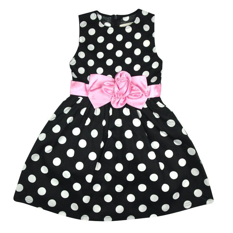 Six Princess Store Kids Toddler Girls Princess Dress Sleeveless Polka Dots Bow knot Dress