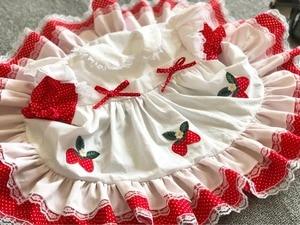 Image 2 - Sommer Mädchen Rot Spitze Erdbeere Blume Prinzessin Kleid Vintage Spanisch Kleid Lolita Party Kleid für Mädchen Baumwolle Casual Kleid