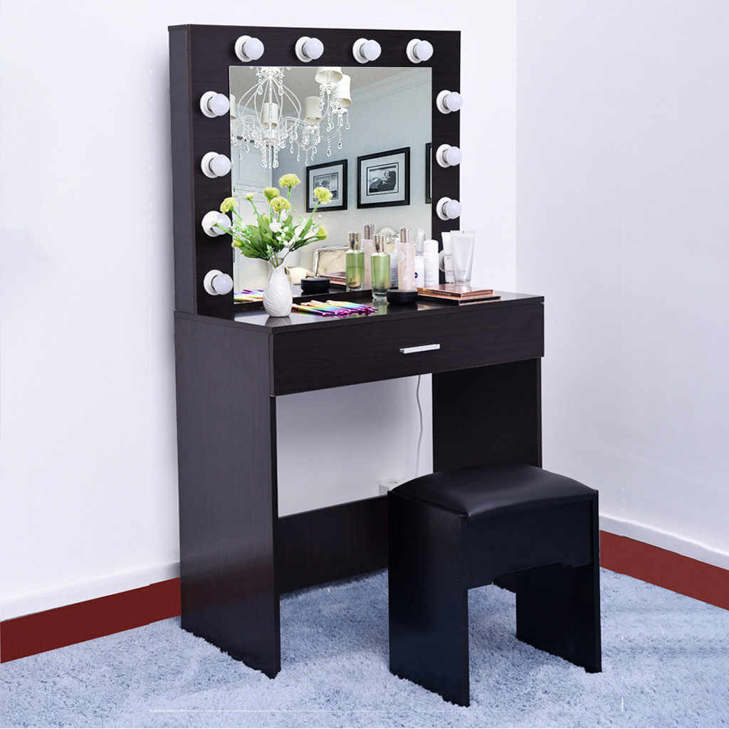Dressing Table 12 LED Bulbs Lamp Girl Room Vanity Set With Lighted Mirror  Cushioned Stool Dressing Table Makeup Table US Stock