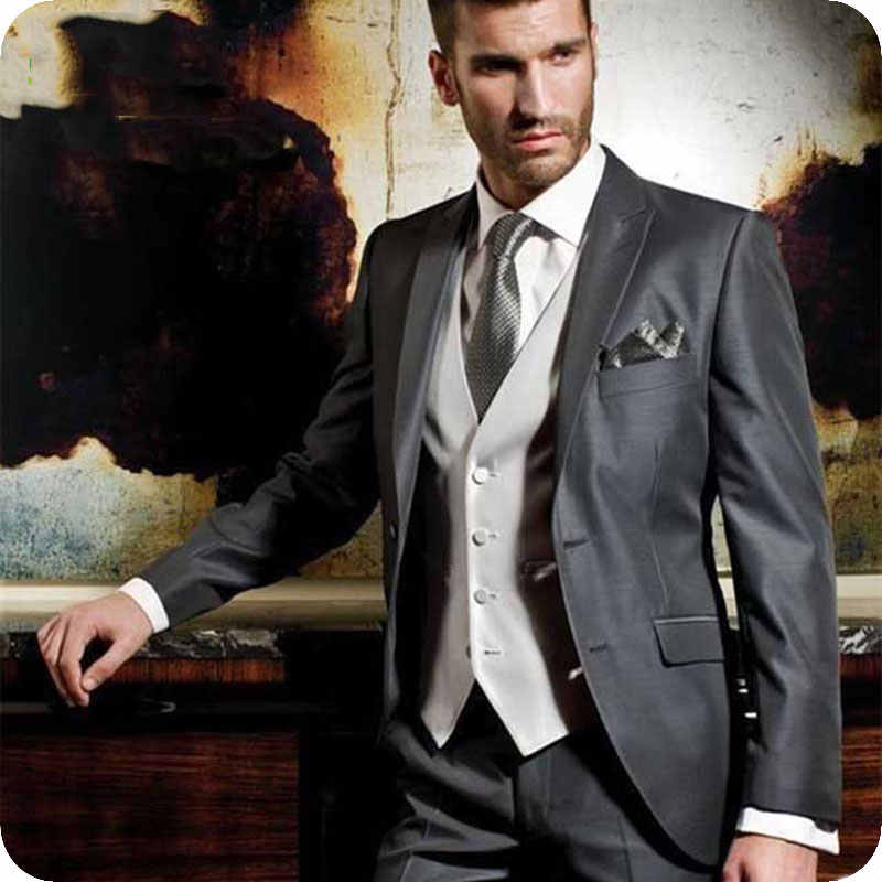 ヴィンテージグレーの男性が結婚式スリムフィット新郎タキシード男性スーツ古典的な男性ブレザージャケットパンツ 3 ピース衣装オム Terno