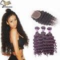 Высокое качество 6а монгольский глубоко волны с закрытием человеческих волос пучки с кружевом замыканий 3 шт. много бразильских волос с закрытием