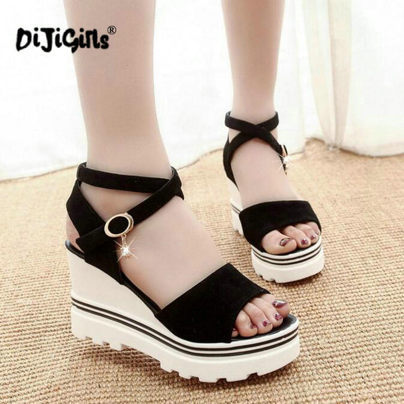 Women Sandals Shook Simple Shoes Korean Summer Students Muffin with Platform Wild Fish-Head