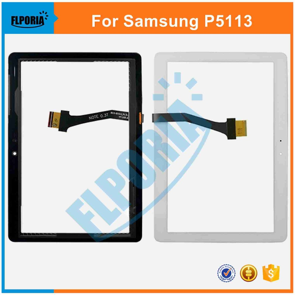 Touch Screen digitizer For Samsung Galaxy Tab 2 10.1 P5113 P5113TS Tablet Touch Panel Front Glass with Flex Cable Assembly touch screen digitizer glass lens with tape for samsung galaxy tab 4 10 1 t530 t531 with tools free dhl