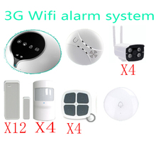 3G WIFI Alarm System Wireless Home Security Alarm System Support IOS Android APP  remote control sensor with outdoor 720P camera