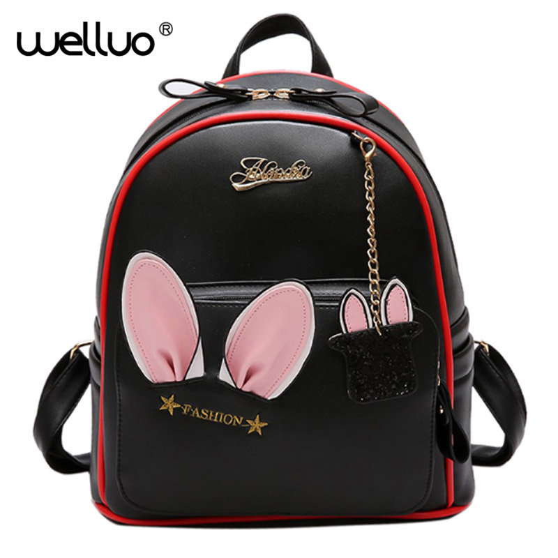 Women PU Cute Leather Backpack Rabbit Ear Backpack with a pendant Kawaii Bookbags Embroidery Backpacks Girls