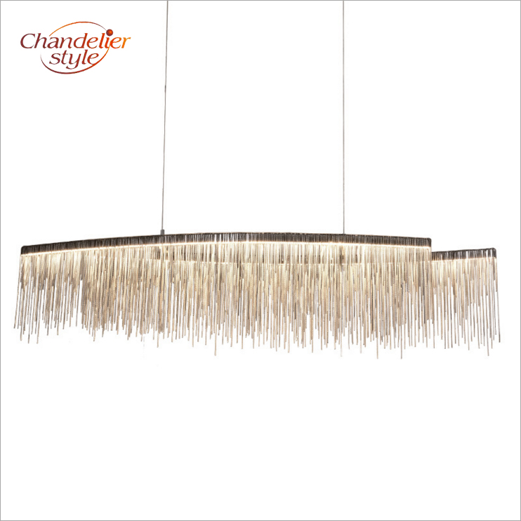 Modern Nordic Tassel Chandelier Lighting Iron Chain Chandeliers LED Hanging Light for Home Hotel Restaurant Decoration modern crystal chandelier hanging lighting birdcage chandeliers light for living room bedroom dining room restaurant decoration