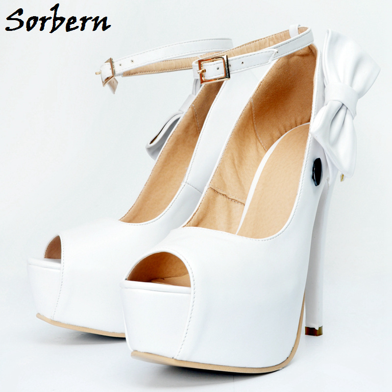 Sorbern White High Heels Sexy Women Pumps Shoes Buckle Strap Peep Toe Wedding Shoes White 2018 Platform Pumps Plus Heels 2016 summer peep toe thin thick high heels pumps with platform rhinestones buckle sandals women pu pink white blue sexy shoes