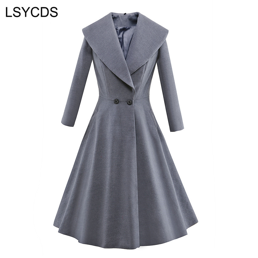 2018 Winter Long   Trench   Coat for Women Full Sleeve Turn-down Collar Double Breasted Vintage Skirt Overcoat Casual Coats