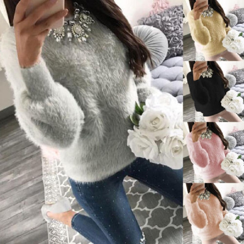 ELSVIOS Women Fleece Warm Autumn Winter Sweater Fashion O Neck Long Sleeve Knitted Sweaters Casual Solid Elegant Pullovers Tops