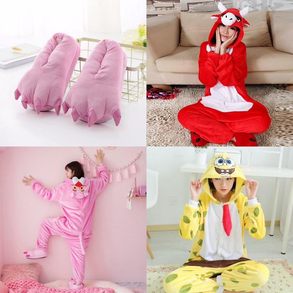 Adult Animal Kigurumi Pajamas Pink Panther Onesie Women Pyjamas Pijama Winter Sleepwear Onepiece Onesies For Adults 2019