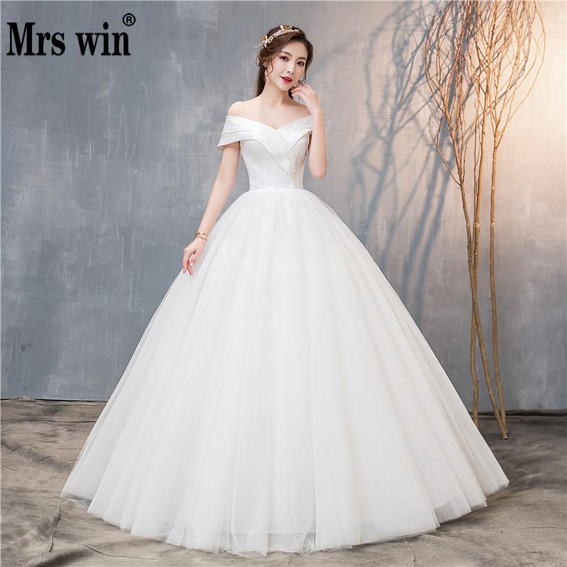 Wedding Dress 2019 New Mrs Win Sexy V neck Lace Up Ball Gown Off The Shoulder
