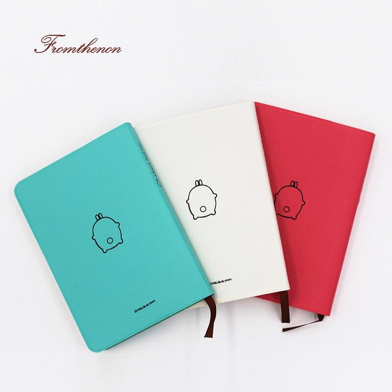 Fromthenon 2018 Carino Notebook Kawaii Del Fumetto Molang Diario Ufficiale Planner Notepad per il Regalo Coreano Cancelleria Variopinto Interno