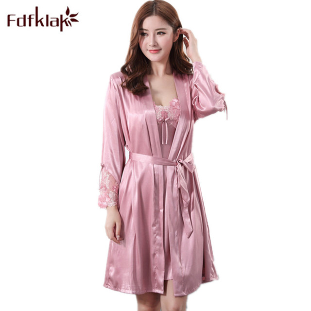 5a9775ff69 Cheap Fdfklak Summer New Women Sexy Lace Silk Robe   Gown Set Sleep Dress+ Bathrobe