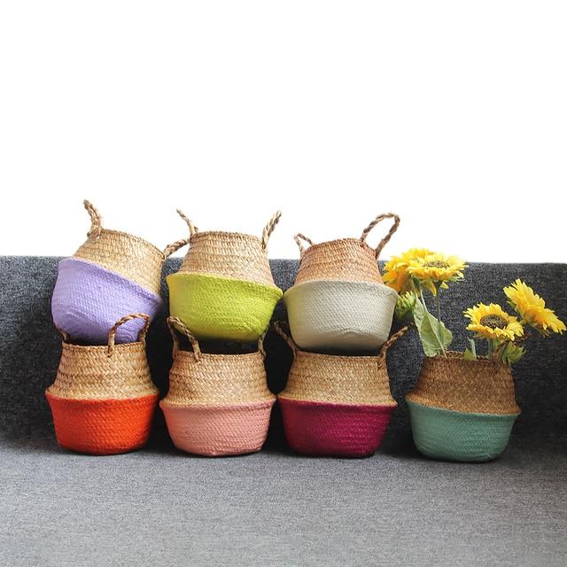 Cesta de armazenamento Cesta De Vime Rattan Palha Seagrasss Dobrável Vasos de Flores Flor Pote Plantador de Cesta De Armazenamento Organização de groot