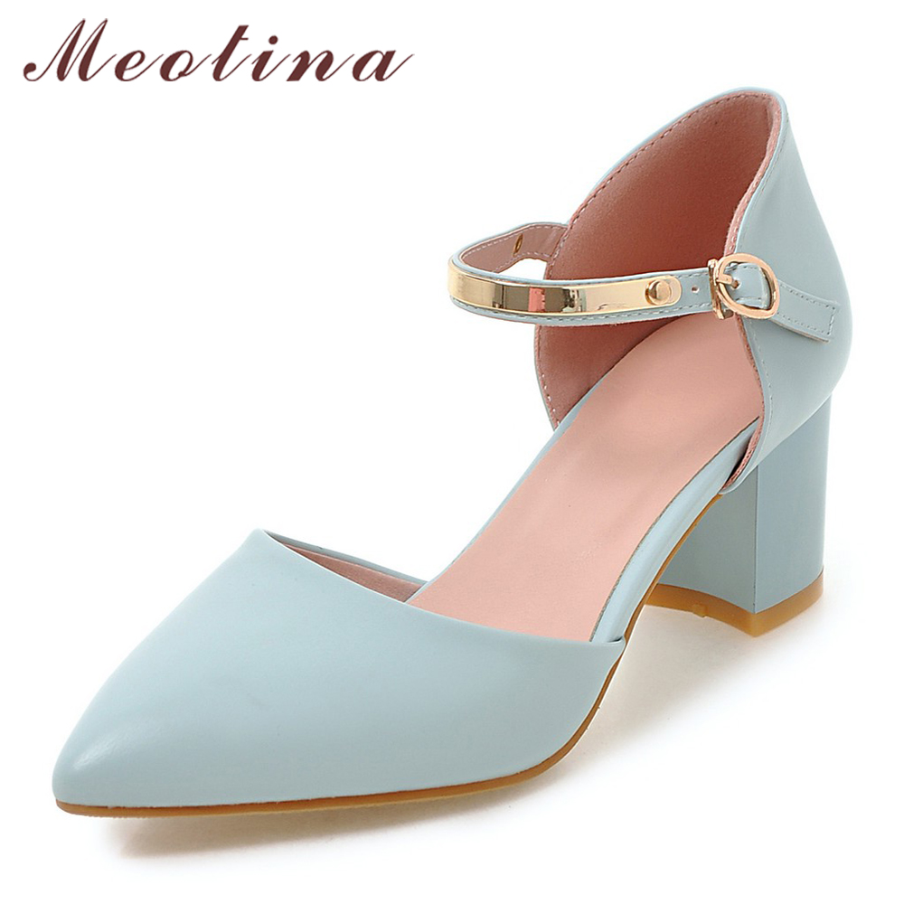 Meotina Women Pumps High Heels Lady Shoes Ankle Strap Pointed Toe Shoes Thick Heel Female Pumps 2018 Autumn Big Size 33-43 Blue цены