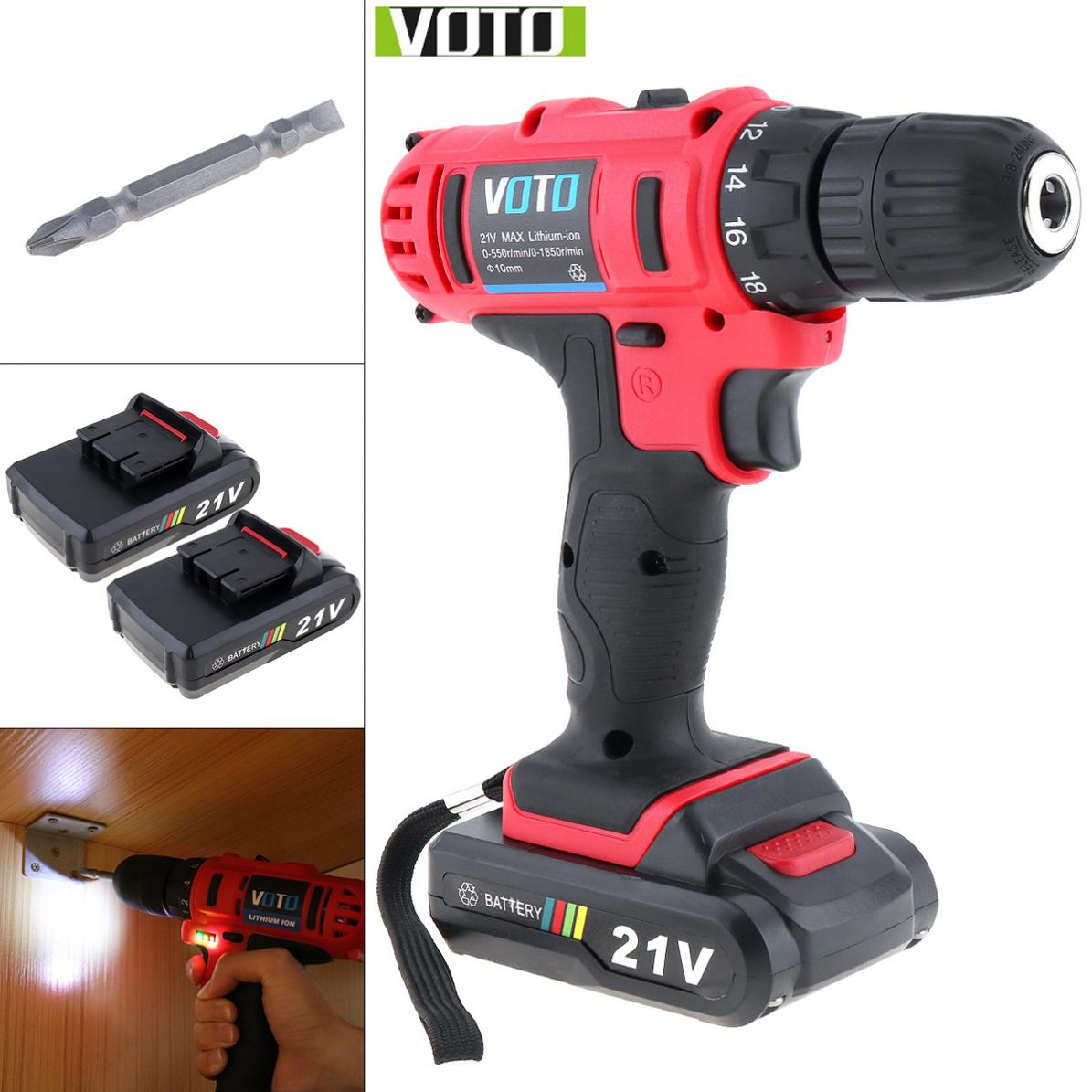 VOTO AC 100 240V Cordless 21V Two speed Electric Screwdriver / Drill with 2 Lithium Batteries and Power Display Light