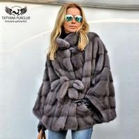 Tatyana 2019 New Real Mink Fur Coat With Belt Women Long Light Brown Fur Jackets With Stand Collar Beautiful Warm Fur Coats