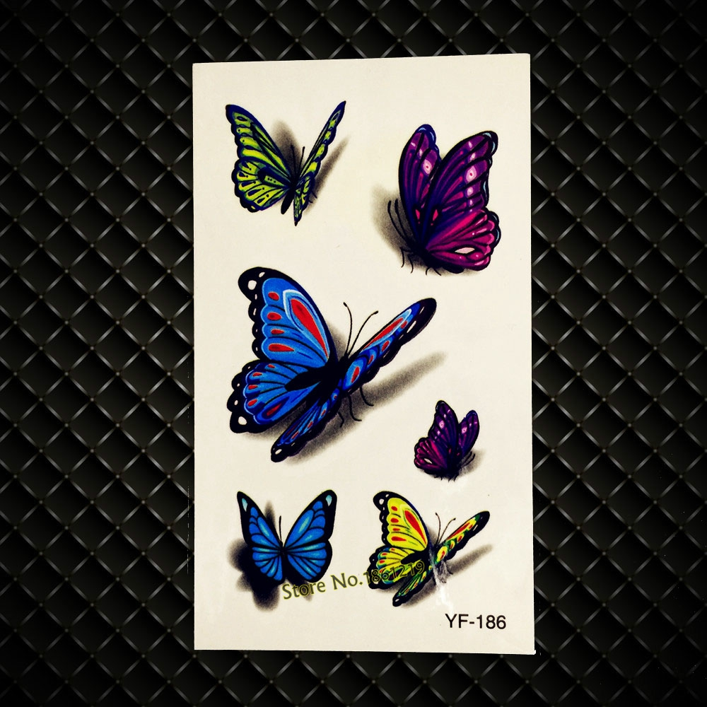 Waterrpoof 3D Shoulder Decals Temporary Tattoo Colorful Flying Butterfly Design Women Arm Leg Decals Fake Tattoo Sticker GYF-186