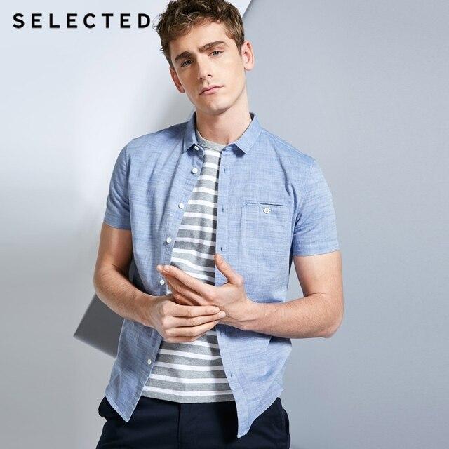 Мужская рубашка из 100% хлопка чистого цвета с острым воротником и короткими рукавами C