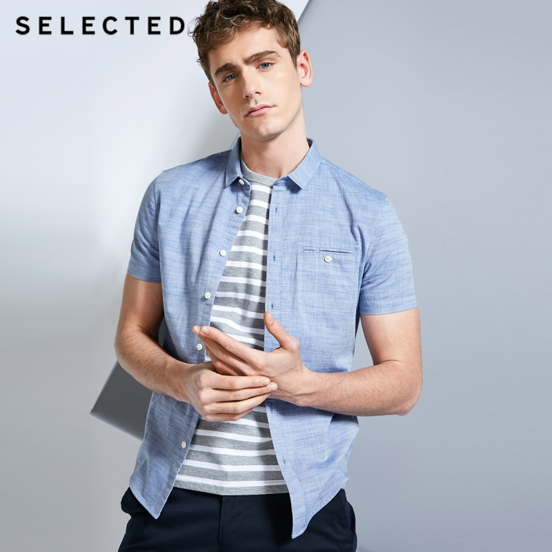 SELECTED Men's 100% Cotton Pure Color Pointed Collar Short-sleeved Shirt C|418204531