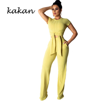 Kakan 2019 summer new women's bodysuit tights two piece casual navel short sleeved jumpsuit pink yellow purple black jumpsuit