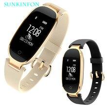 Pour Femme Fille SK3 Mode Sport Bluetooth Montre Smart Watch Bracelet Passometer Moniteur de Fréquence Cardiaque Sommeil Fitness Tracker Smartwatch