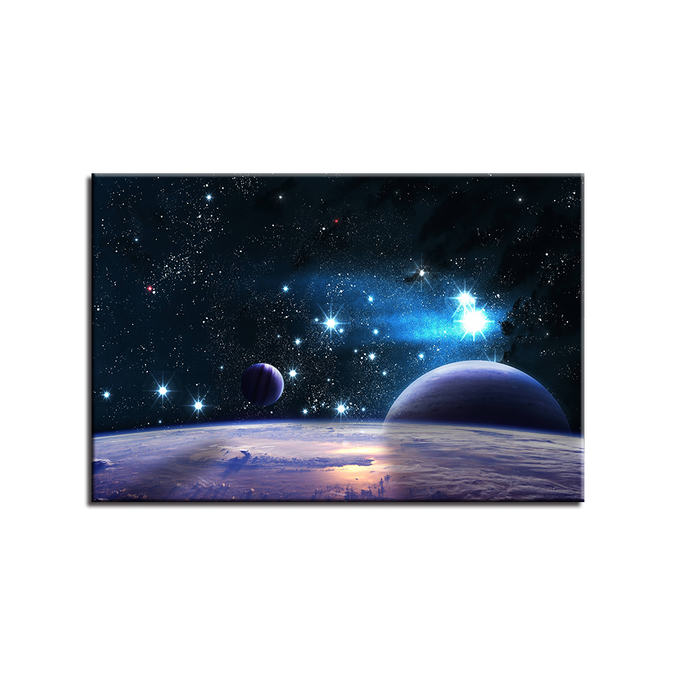 1 Piece Universe Space Planet Paintings Home Decor HD Prints Earth Posters Canvas Pictures Living Room Wall Art Framework in Painting Calligraphy from Home Garden