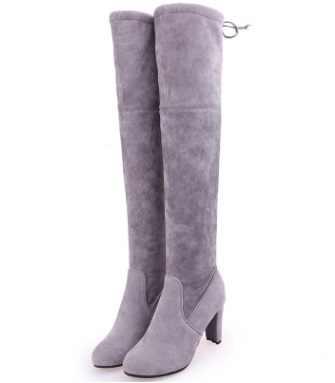 2019 Plus ขนาดแฟชั่นหญิงฤดูหนาวต้นขาสูงรองเท้า Faux Suede รองเท้าส้นสูงหนังผู้หญิงกว่าเข่ารองเท้า Drop shipping35-43