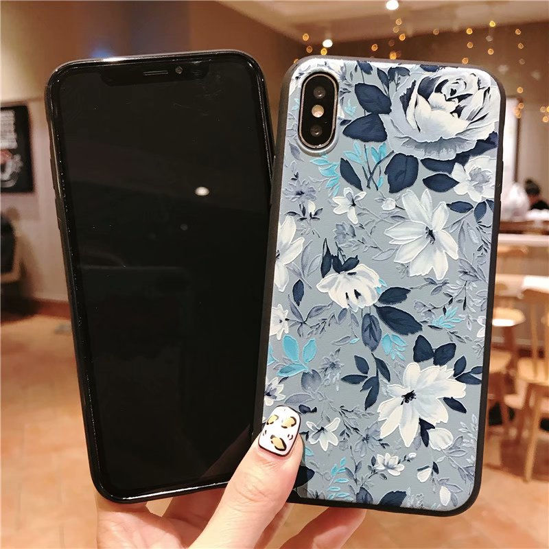 KIPX1051_3_JONSNOW 3D Emboss Flowers Soft Case for iPhone XS XR Cases for iPhone 6S 7P 8 Plus XS Max Phone Cover