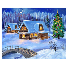 5D DIY Diamond Painting Snow nature christmas tree Embroidery Snowhouse Mosaic home decor