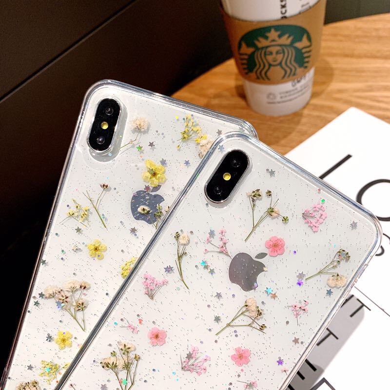 Real Dried Flower Case For iPhone 7 8 Plus XS Max XR XS X 6 6SCase Handmade Clear Soft TPU Fresh Flower Phone Back Cover Fundas in Fitted Cases from Cellphones Telecommunications