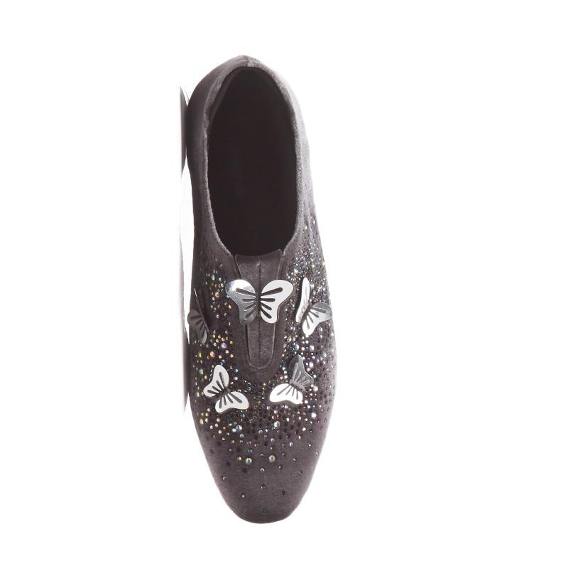 gris Casuales Mujeres Cristal Negro Las Moda Mariposa 43 Otoño Primavera La Planos Odetina De Para Zapatos Tamaño caramel Cuero Mocasines Nueva Metal Slip Gran On wUSBPx7q