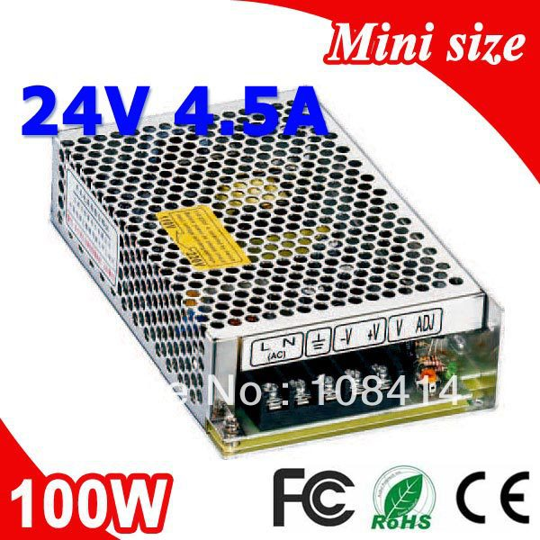 MS-100-24 100W 24V 4.5A Single Output Mini size LED Switching Power Supply Transformer AC to DC free shipping 35w 24v 1 5a single output mini size switching power supply for led strip light ms 35 24