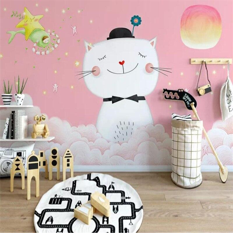 Personalizado papel de parede simples Nordic gatinho das crianças decoração do quarto do fundo da parede material à prova d' água