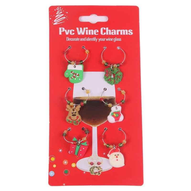 6 шт./компл. изящный винный бокал очаровательный дизайн маркер напитков украшение для дома ICrty/Рождество/Свадьба