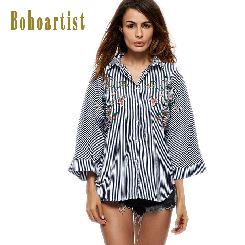 Bohoartist Women T Shirts Stripes Side Split Spring Ladies Women T Shirt