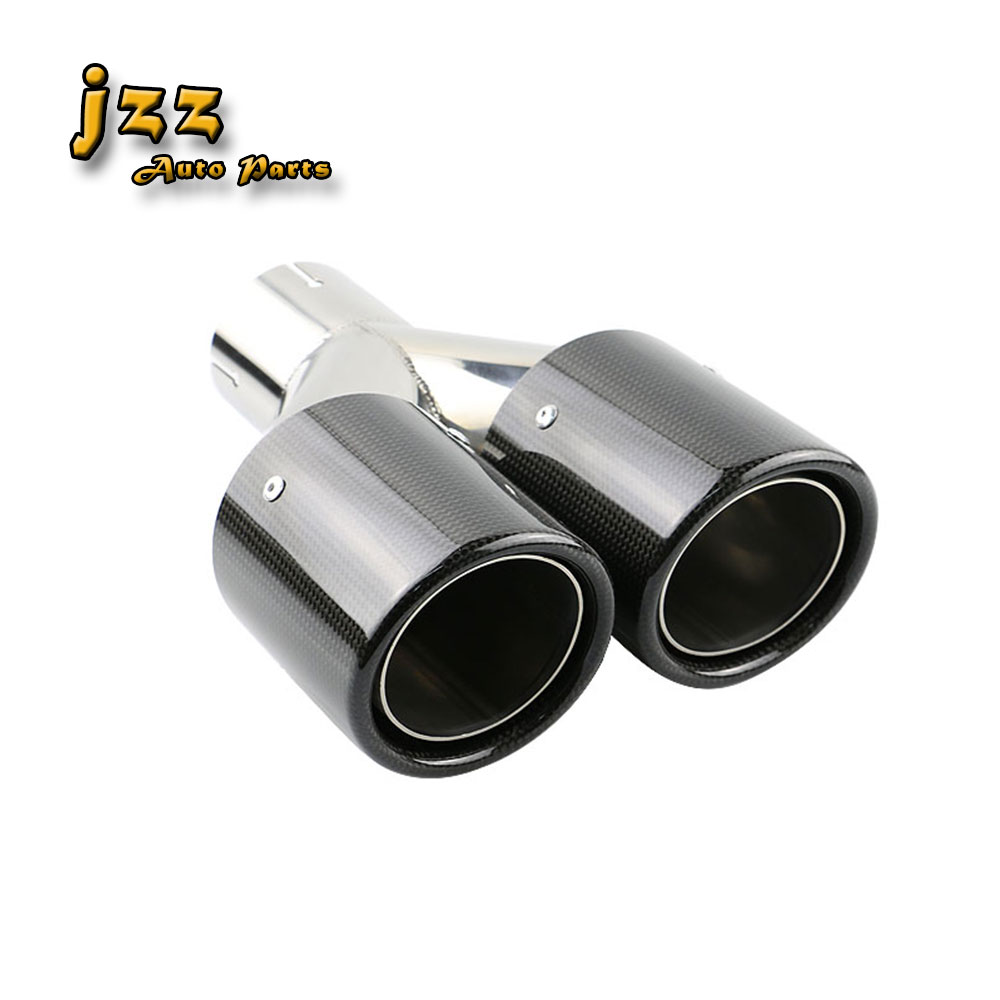 Universal Dual akrapov car carbon fiber exhaust pipe silencer Stainless Steel Muffler tail tip same length outlet free shipping
