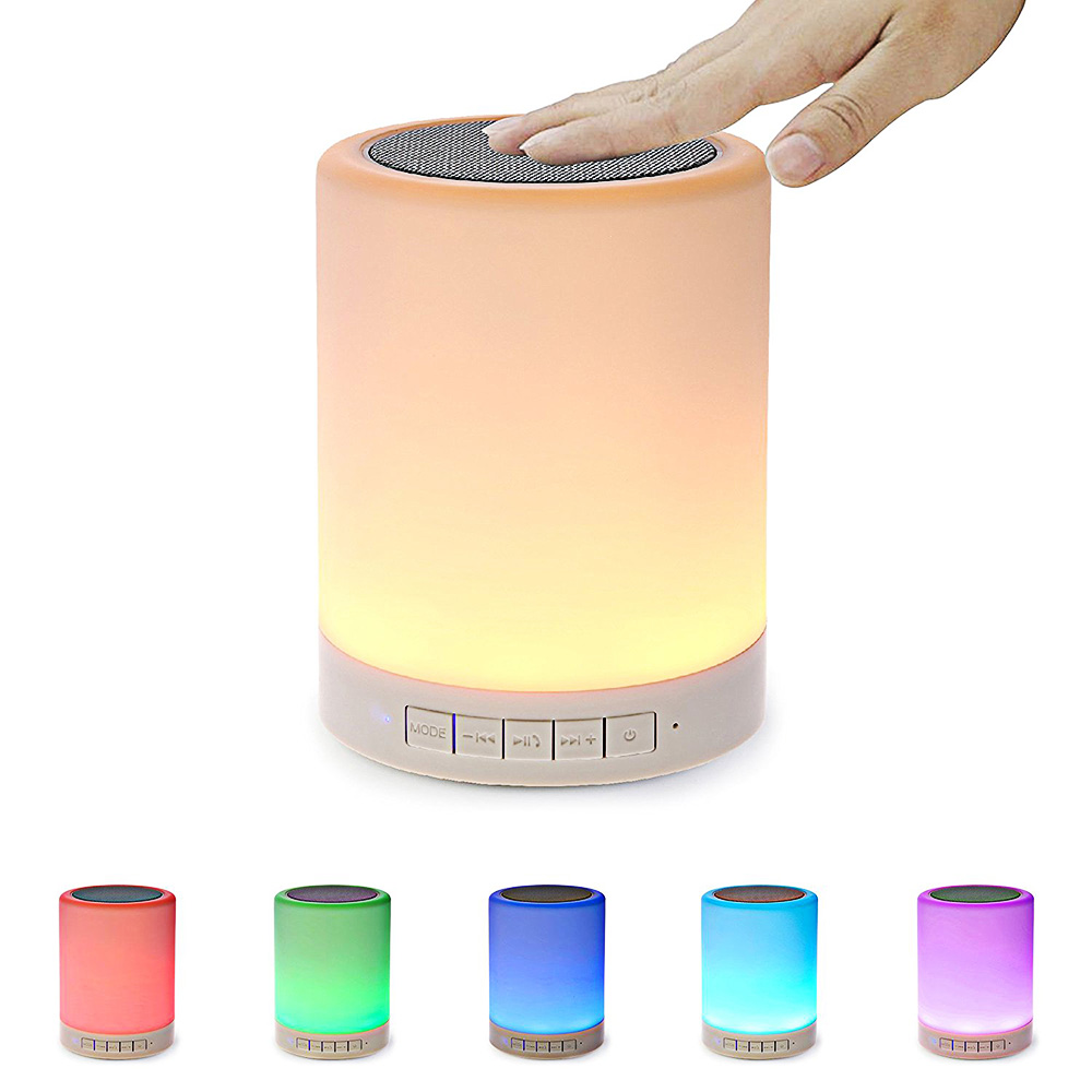 Night Light Bluetooth Speaker Portable Wireless Touch Color Change LED Speaker Bedside Table Lamp Creative Light for Outdoor led touch color change night light motion sensor bedside lamp bluetooth speaker touch control support mobile phone app control