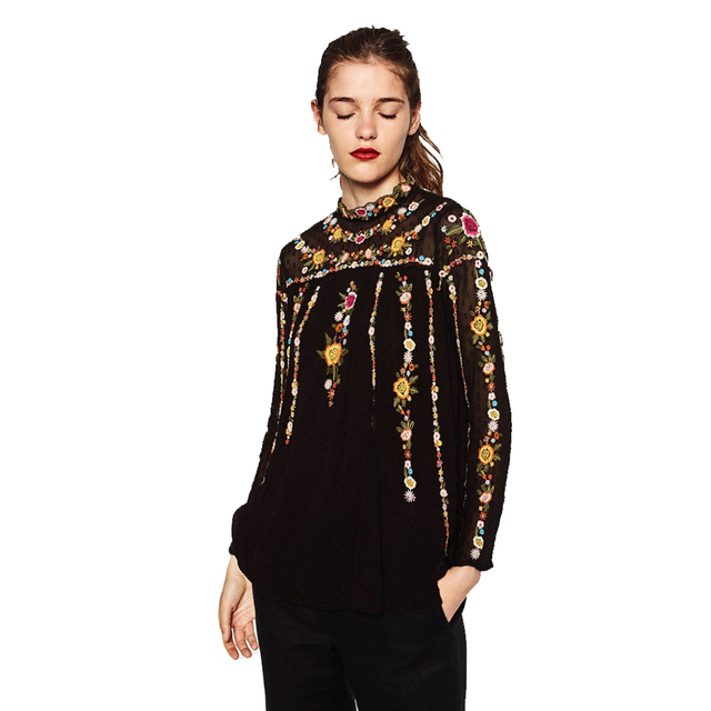Colorful Apparel Vintage Colorful Floral  Embroidery Back Button Chiffon T-Shirt Street Women  Pullover Long Sleeve Top CA761