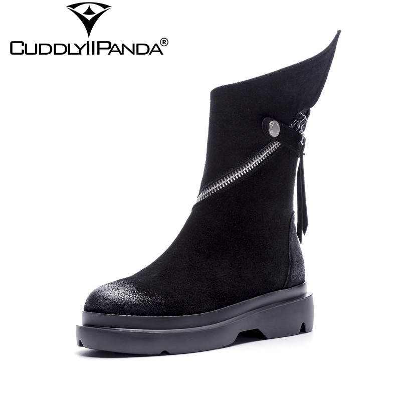 CuddlyIIPanda 2018 Autumn Winter Wings Design Locomotive Boots Cow Suede Women Mid-calf Boots Tassel Fringe Zip Motorcycle Boots fashion tassel and cross straps design mid calf boots for women