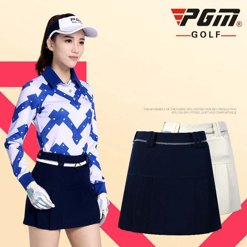 PGM Womens Golf Skort Skirt Solid color Gift Golf Skirts Shorts summer Breathable Quick dry Slim Anti Leakage Golf Shorts skirts